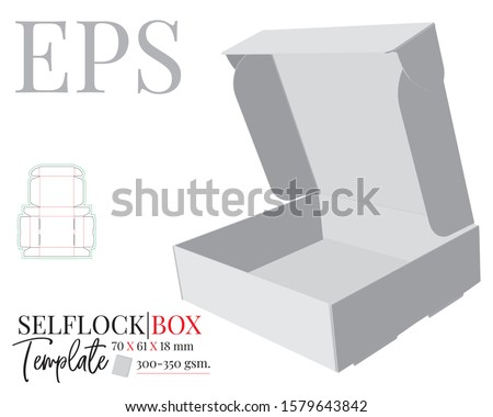 Self Lock Box Template, Vector with die cut, laser cut lines. Cut and Fold Packaging Design. White, clear, blank, isolated Self Lock Box mock up on white background with perspective presentation