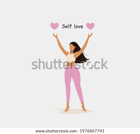 Self love concept. Happy young dark haired woman with pink hearts Photo stock ©