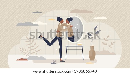 Self love hug as esteem and confidence for being woman tiny person concept. Proud female with inner acceptance as psychological harmony and mental satisfaction about appearance vector illustration.