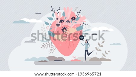 Self love with heart hug as mental healthcare and esteem tiny person concept. Holding yourself and be proud about body, inner peace and acceptance vector illustration. Female confidence with harmony. Foto d'archivio ©