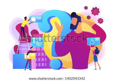 Self management, life coaching. Man doubting, questioning, brainstorming. Identity crisis, delirium and mental confusion, confused feelings concept. Bright vibrant violet vector isolated illustration