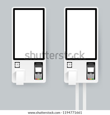 Self-ordering and self payment kiosk for fast food chains, restaurants and retailers. Floor standing and wall interactive kiosks. Vector illustration