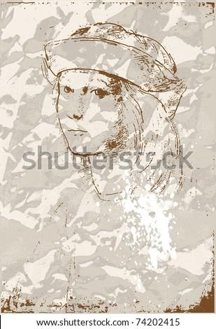 Self-portrait by Raphael  grunge background