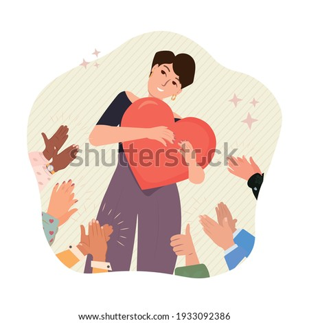Self pride, self-acceptance, personal image and confidence concept vector illustration. Proud, confident, happy woman holding heart. Positive self-image, self-concept, esteem, positive self-perception