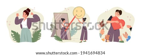 Self pride, self-acceptance, positive self-image and confidence concept vector illustration. Business woman looking in a mirror. Esteem, positive self-perception, social role, individual psychology.