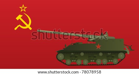self propelled tank on ussr flag