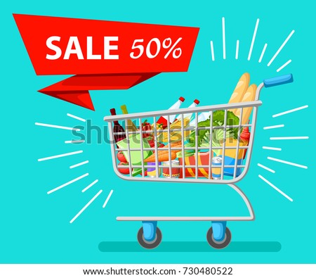 Self-service supermarket full shopping trolley cart with fresh grocery products and red handle realistic vector illustration sale Web site page and mobile app design