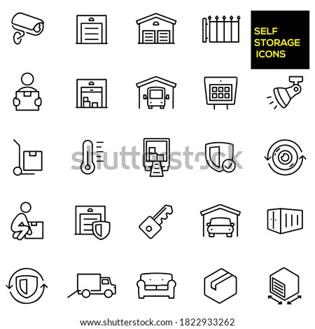 Self Storage Thin Line Icons -  stock illustration. Storage units, security camera,  entrance gate, person carrying a box, open storage unit with boxes, an RV in storage, gate keypad. Stock photo ©