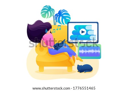 Self-study, a girl studies online, listens to a lecture on a tablet. Flat 2D character. Concept for web design Stockfoto ©