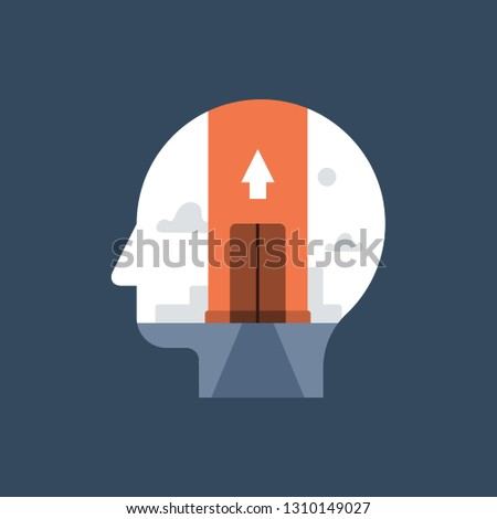 Self training and development, aspiration concept, growth mindset, potential and motivation, level up skill, vector icon, flat illustration