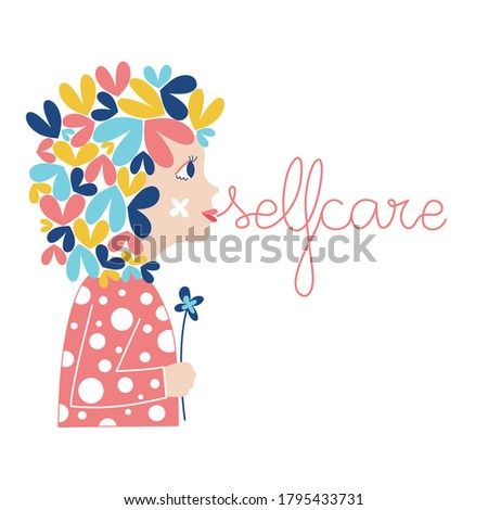 Selfcare woman mental health psicology Foto stock ©