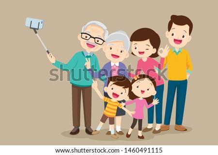 selfie family.grandparents selfie.Elderly couple making selfie.Making Selfie Photo, Shooting Group Portrait of Three Generations on Cellphone.