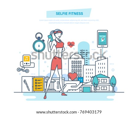 Selfie fitness, lifestyle. Fitness classes, healthy lifestyle, active sport, yoga, strengthening body physically. Girl makes photo, selfie on training. Illustration thin line design of vector doodles.