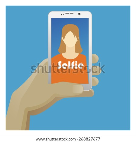 Selfie Icon with smart phone, photo woman and hand. Vector illustration for posters, banners and web design
