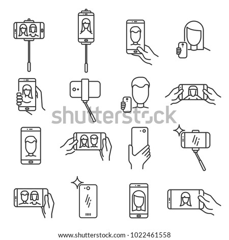 Selfie line icon. Photograph taken of oneself, with a smartphone or webcam, digital camera to share via social media. Vector line art selfie illustration isolated on white background