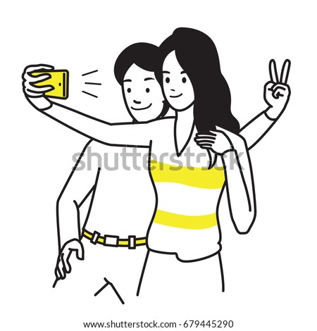 selfie lover couple vector