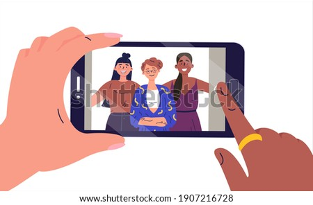 Selfie on mobile phone. Smartphone screen with girlfriends selfie. Girls take photos on the mobile phone. Flat vector illustration for social media.