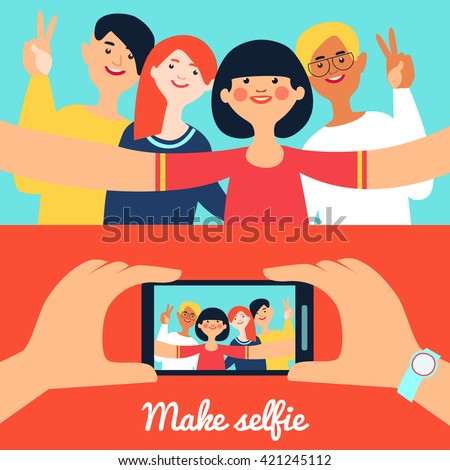 Selfie photo of friends banners with young happy people and portrait on phone screen isolated vector illustration