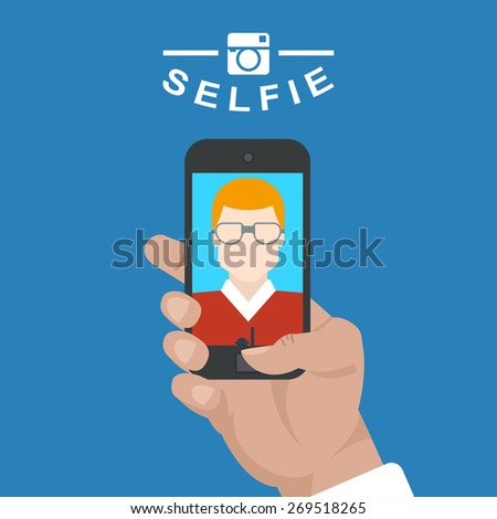 selfie poster with man holding