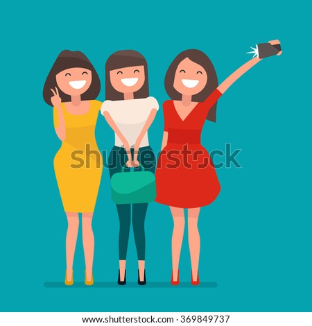 selfie shot ofthree young girls