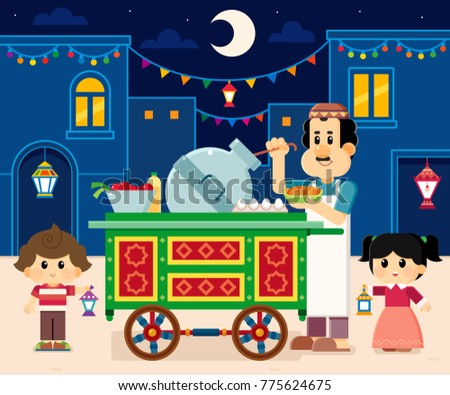 Seller beside his Beans Cart , Ramadan greeting card , boy and girl carrying  lanterns