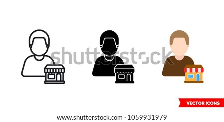 Seller vendor icon of 3 types: color, black and white, outline. Isolated vector sign symbol. Foto d'archivio ©