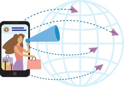 selling online globally - digital influencer concept