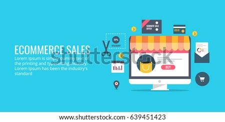 Selling products from eCommerce website, on-line business, sales and marketing flat design vector banner