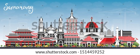 Semarang Indonesia City Skyline with Color Buildings and Blue Sky. Vector Illustration. Business Travel and Concept with Modern Architecture. Semarang Cityscape with Landmarks.