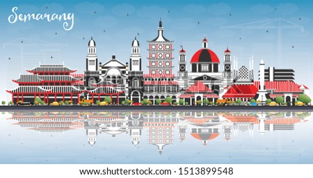 Semarang Indonesia City Skyline with Color Buildings, Blue Sky and Reflections. Vector Illustration. Business Travel and Concept with Modern Architecture. Semarang Cityscape with Landmarks.