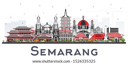 Semarang Indonesia City Skyline with Color Buildings Isolated on White. Vector Illustration. Business Travel and Concept with Modern Architecture. Semarang Cityscape with Landmarks.