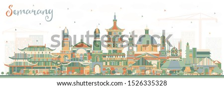 Semarang Indonesia City Skyline with Color Buildings. Vector Illustration. Business Travel and Concept with Modern Architecture. Semarang Cityscape with Landmarks.