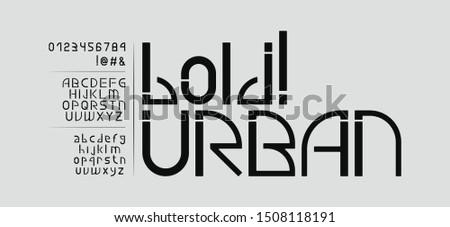 Semi Bold modern urban industrial English sans-serif font. Uppercase, lowercase, numbers and symbols. Big typeset.