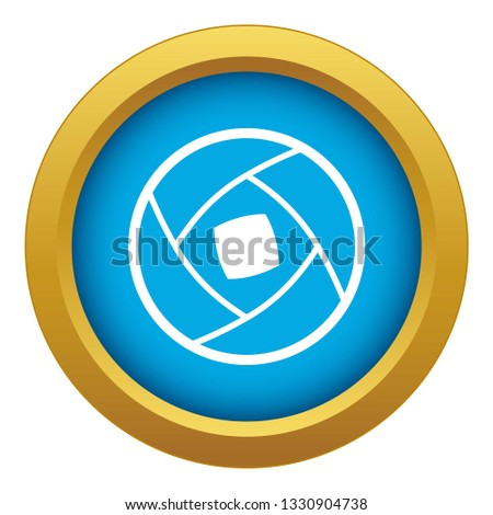 Semi-closed lens icon blue vector isolated on white background for any design