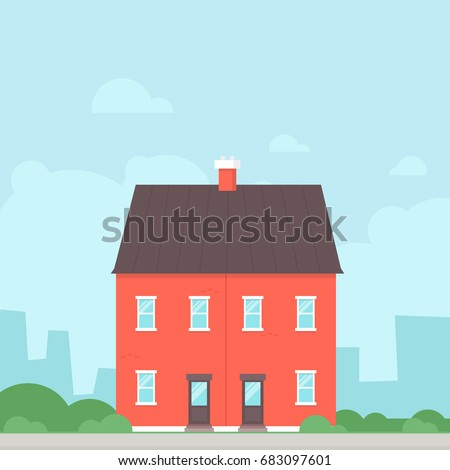 Semi detached counsil house. English house clipart