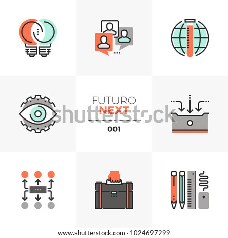 Semi-flat icons set of business development and work process. Unique color flat graphics elements with stroke lines. Premium quality vector pictogram concept for web, logo, branding, infographics.