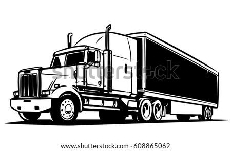 Semi-trailer truck. Black and white illustration