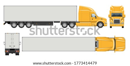 Semi trailer truck vector template with simple colors without gradients and effects. View from side, front, back, and top Stock fotó ©