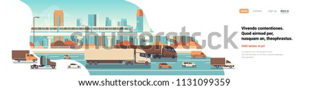 semi truck trailers driving highway road cars lorry over city background delivery cargo concept flat copy space banner