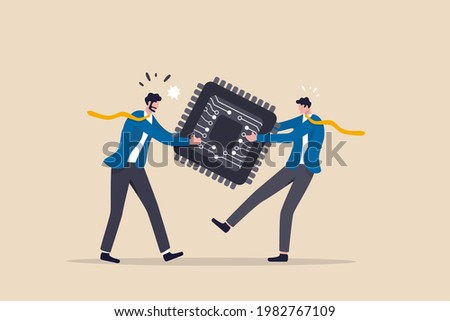 Semiconductor and computer chip supply chain shortage due to Coronavirus COVID-19 pandemic, electronics manufacturing problem concept, businessman tug of war fighting to get computer chip. Stockfoto ©
