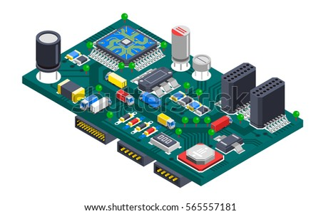 Semiconductor electronic circuit board isometric composition with silicon chips and cargo trucks driving on wire tracks vector illustration stock photo