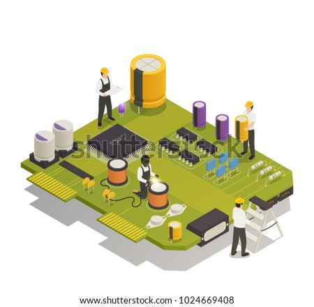Semiconductor electronic components isometric composition with 4 men assembling resistors diodes on printed circuit board vector illustration