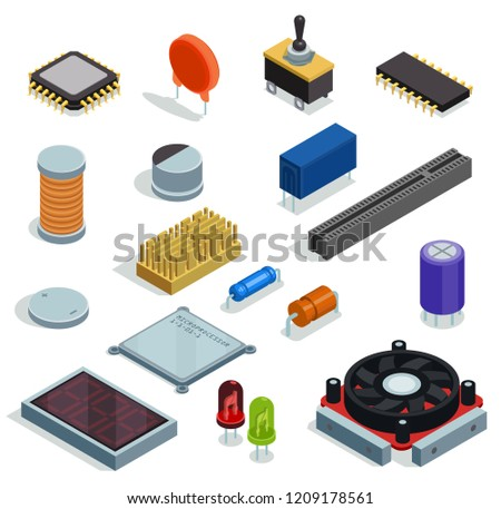 Semiconductor isometric set of microchip  microprocessor diode transistor capacitor resistor slot isolated elements vector illustration