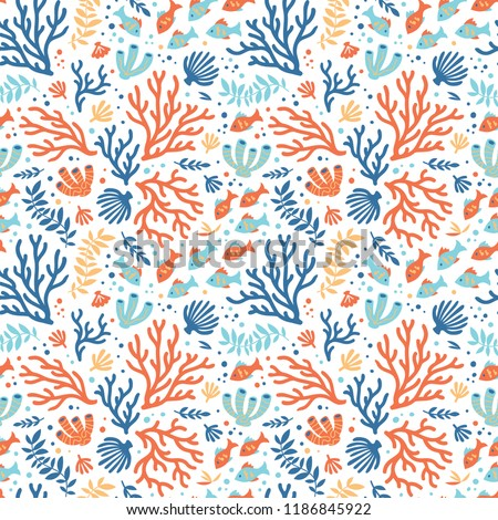 Semless sea pattern with tropical fishes and corals.