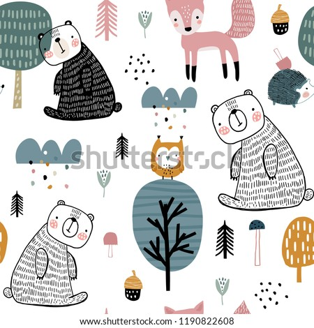Semless woodland pattern with cute bear, hedgehog, owl, fox and hand drawn elements. Scandinaviann style childish texture for fabric, textile, apparel, nursery decoration. Vector illustration