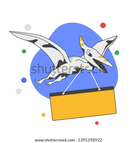 send a message, push message and email notification, delivery, post on rectangular board box. cartoon dragon vector style illustration. blank space for text. flat vector illustration.