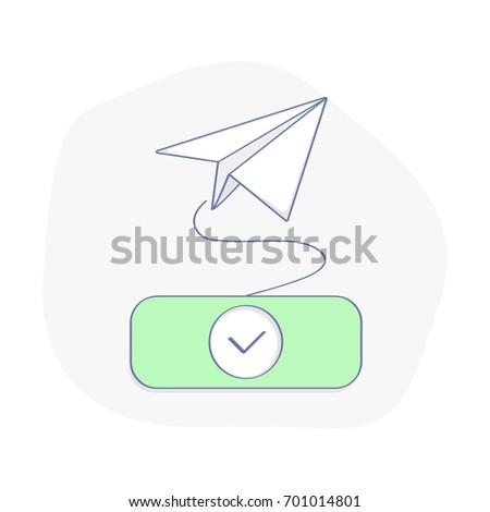 Send e-mail, letter or subscribe to newsletter vector concept. Green button with check mark and departing paper plane. Flat line illustration concept of e-mail marketing. UX / UI element for design.
