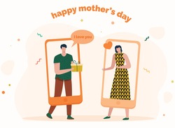 Send gift for your mother. Happy mother's day. Present, gift, online delivery. Delivery gift in the holiday during covid 19. Corona Virus. Online shopping. Son and mom. Flat vector illustration. Buy.