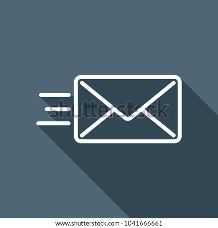 send mail icon. sms line. White flat icon with long shadow on background