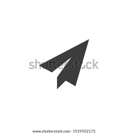 Send Message Icon Isolated on Black and White Vector Graphic